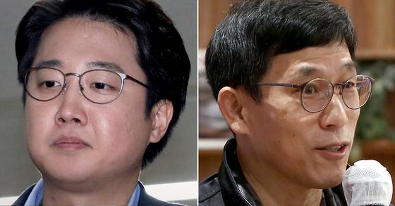 이준석 전 미래통합당(국민의힘) 최고위원(왼쪽)과 진중권 전 동양대 교수. 뉴스1