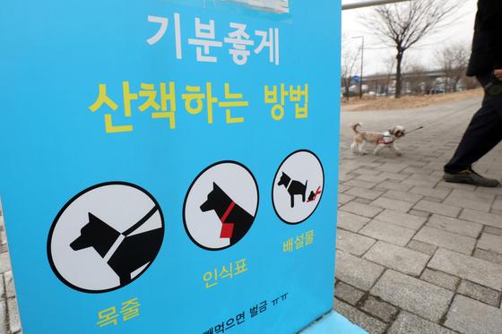 서울 영등포구 한강시민공원에 공지된 반려견 산책안내표시. 뉴스1