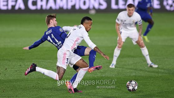 UCL 4강 1차전 레알 마드리드와의 경기에서 뛰고 있는 베르너. 사진=게티이미지