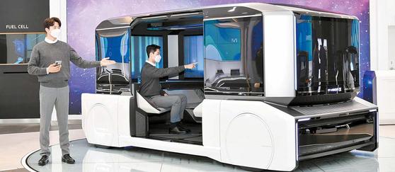 완전 자율주행 시대를 대비한 목적 기반 모빌리티(Purpose Built Vehicle) 콘셉트 엠비전X(M.Vision X). [사진 현대모비스]