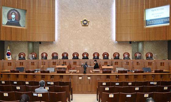 대법원 전원합의체가 29일 오후 '지료청구' 사건에 대한 선고를 진행하고 있다. [대법원 제공]