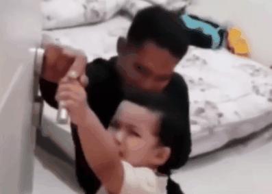 그날따라 유난히 아빠에게 '가지 말라'고 울었던 아이. 사진 샤르자 뉴스 공식 인스타그램