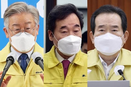 여권 대선주자인 이재명 경기지사, 이낙연 민주당 대표, 정세균 국무총리(왼쪽부터). 연합뉴스