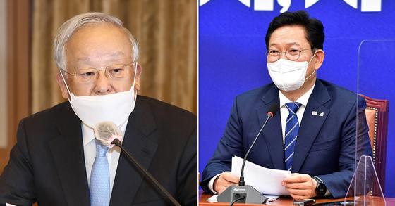 손경식 경총 회장(왼쪽)과 송영길 민주당 대표. 연합뉴스