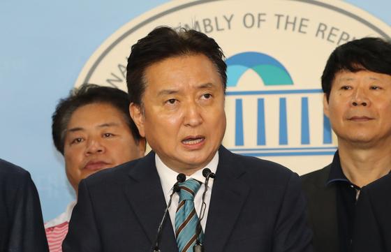 김영환 전 국회의원. 지난 2018년 8월 5일 국회 정론관 기자회견 모습. 연합뉴스