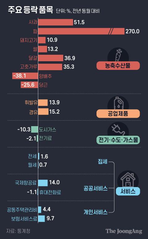 주요 등락 품목. 그래픽=김은교 kim.eungyo@joongang.co.kr