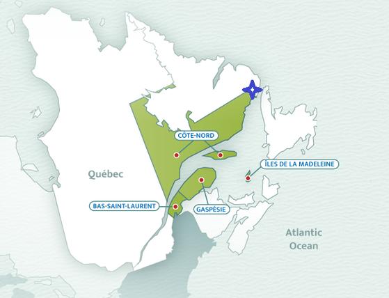 캐나다 동북부 해안가에는 겨울이면 바다가 얼어 해빙이 꽉 차고, 해빙을 찾아온 하프물범들을 찾아가는 투어도 있다. 2021년 겨울은 해빙이 부족해 투어가 취소됐고, 블랑-사블롱(blanc-sablon, 파란 표시된 지역) 해안가까지 헤엄쳐 온 새끼 물범들이 발견됐다.