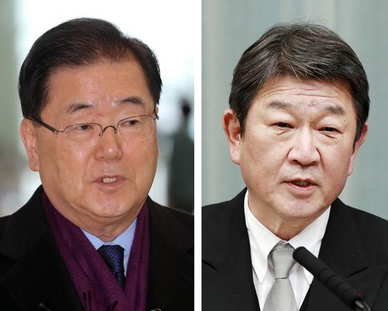 정의용 외교부 장관(왼쪽)과 모테기 도시미쓰(茂木敏充) 일본 외상. 연합뉴스·교도통신