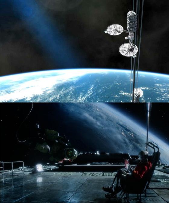 넷플릭스 영화 승리호에 등장한 우주엘리베이터. [사진 넷플릭스 캡쳐]