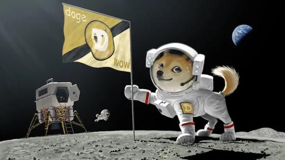 지난 2월 일론 머스크 테슬라 CEO가 암호화폐 시장을 띄우며 올린 이미지. 장난 삼아 만든 도지코인의 상징 시바견이 달 착륙을 한 모습을 그렸다. [머스크 CEO 트위터 캡처]