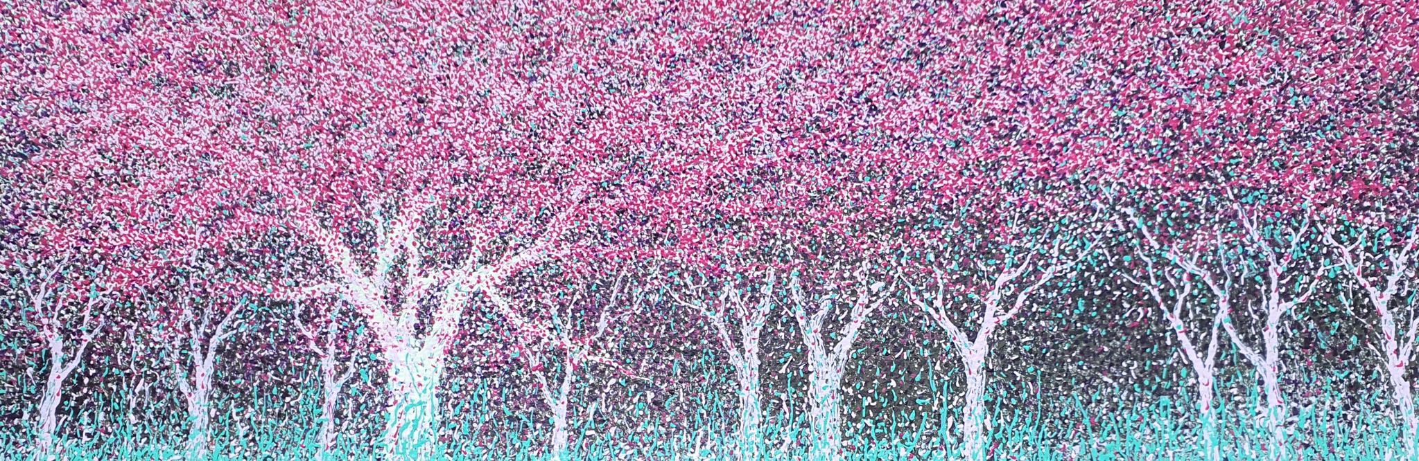 이현영, 나의 첫봄, acrylic on paper, 132x38.8cm, 2021