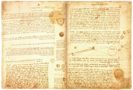 레오나르도 다빈치의 작업노트 '코덱스 레스터(Codex Leice ster)', 빌 게이츠가 결혼한 해인 1994년 경매에서 낙찰받았다.