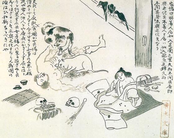 1783년(천명 3)에 발생한 일본 대기근의 참상을 묘사한 '천명아사도'. [사진 일본 소학간 발행 『에도시대관』]