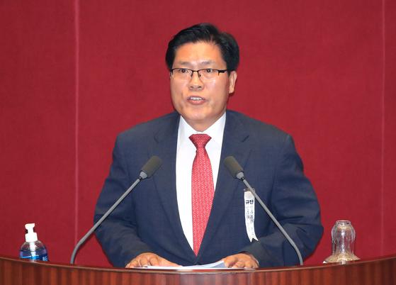 지난해 8월 국회 본회의에서 반대토론자로 나선 송석준 국민의힘 의원. 연합뉴스