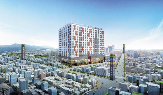 1군 건설사인 동부건설이 서울 도심 쿼드러플 역세권에 시공하는 '더 솔라고 세운' 투시도.