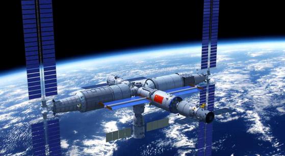 중국이 추진 중인 유인 우주정거장 톈궁 조감도. 지구로 추락중인 우주발사체는 이 정거장의 핵심 모듈을 싣고 우주로 갔다가 대기권에 재진입할 예정이다. [사진 중국국가항천국]