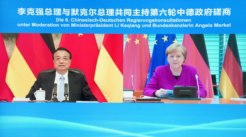 '제6차 중국·독일 정부 협상'에 참석한 리커창(왼쪽) 중국 총리와 메르켈 독일 총리 [신화=연합뉴스]