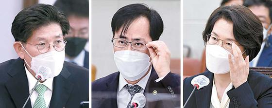노형욱 국토부, 박준영 해수부, 임혜숙 과기부 장관 후보자(왼쪽부터)가 지난 4일 국회에서 열린 인사청문회에서 질의에 답하고 있다. 오종택 기자