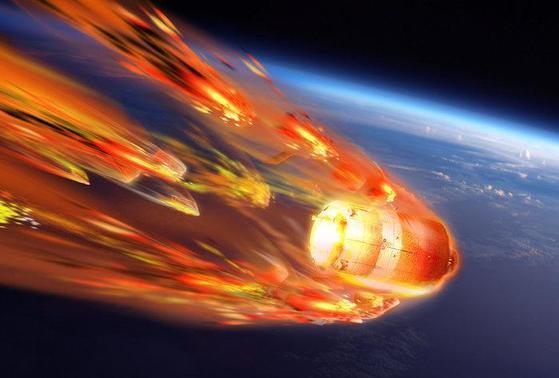 중국이 지난 2011년 쏘아올렸던 톈궁1호도 2018년 지구로 낙하하면서 '러시안 룰렛' 논란을 일으켰다. 사진은 톈궁1호 추락 상상도. [중앙포토]