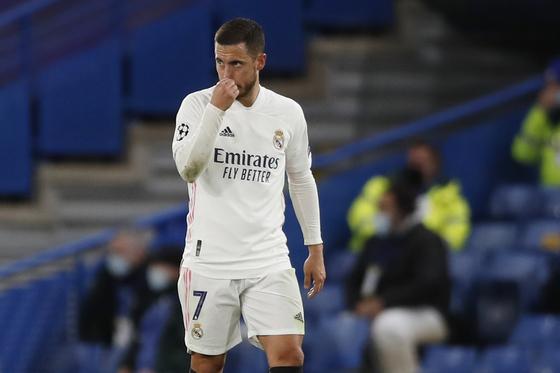 레알 마드리드에서 최악의 모습으로 입지가 좁아진 에당 아자르. AP=연합뉴스