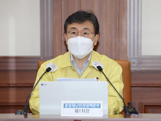 권덕철 보건복지부 장관. 사진은 지난 5일 열린 중앙재난안전대책본부 회의 당시 모습. 연합뉴스