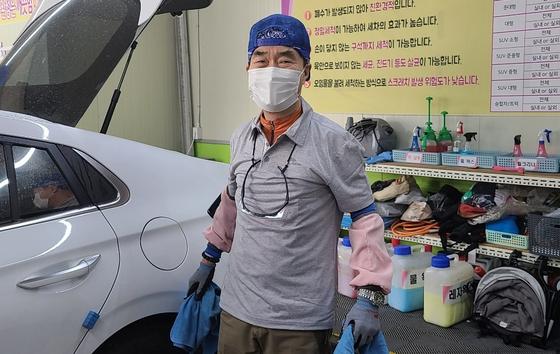 용인시 '에코스팀세차장 효' 직원 송성옥씨. 채혜선 기자