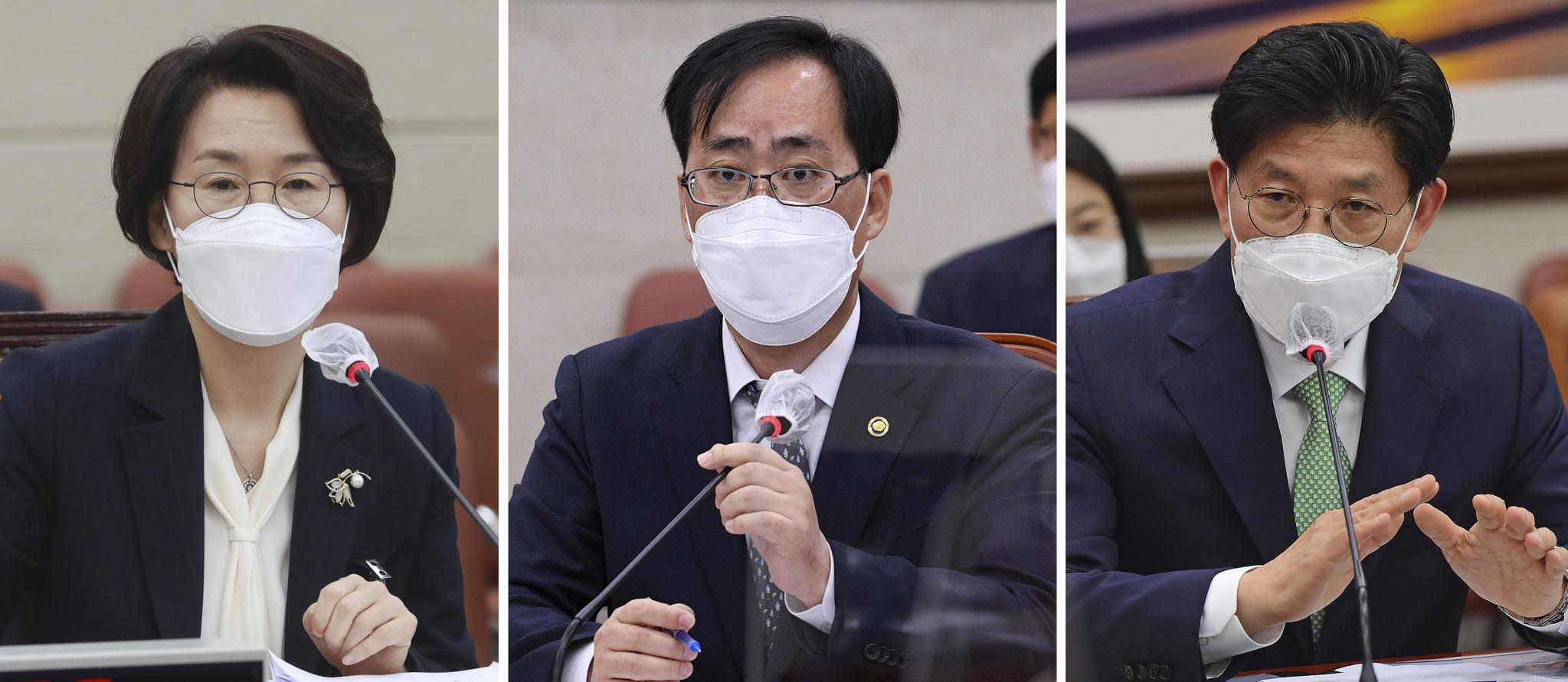 임혜숙 과학기술정보통신부(왼쪽부터), 박준영 해양수산부, 노형욱 국토교통부 장관 후보자. 연합뉴스