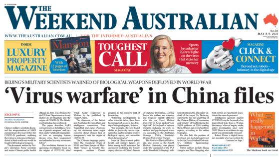 ″중국 보고서 속의 바이러스 무기″를 1면 머리기사로 실은 호주 일간지 '더 오스트레일리언' 8일자 주말판 지면. [더 오스트레일리언 캡처]