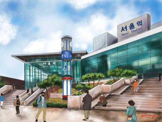 최근 일상의 모습을 가감 없이 콘텐츠로 인기를 끌고 있는 10분 멍 시리즈 중 서울역의 어느 하루. 아이패드7, 프로크리에이트. [그림 홍미옥]