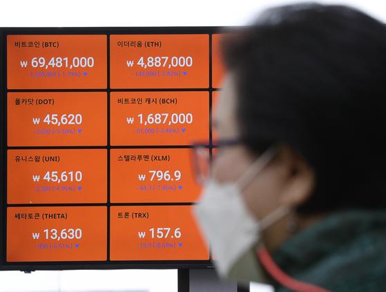11일 오후 서울 강남구 빗썸 강남고객센터에 설치된 전광판에 가상화폐 가격이 표시되고 있다. 뉴스1
