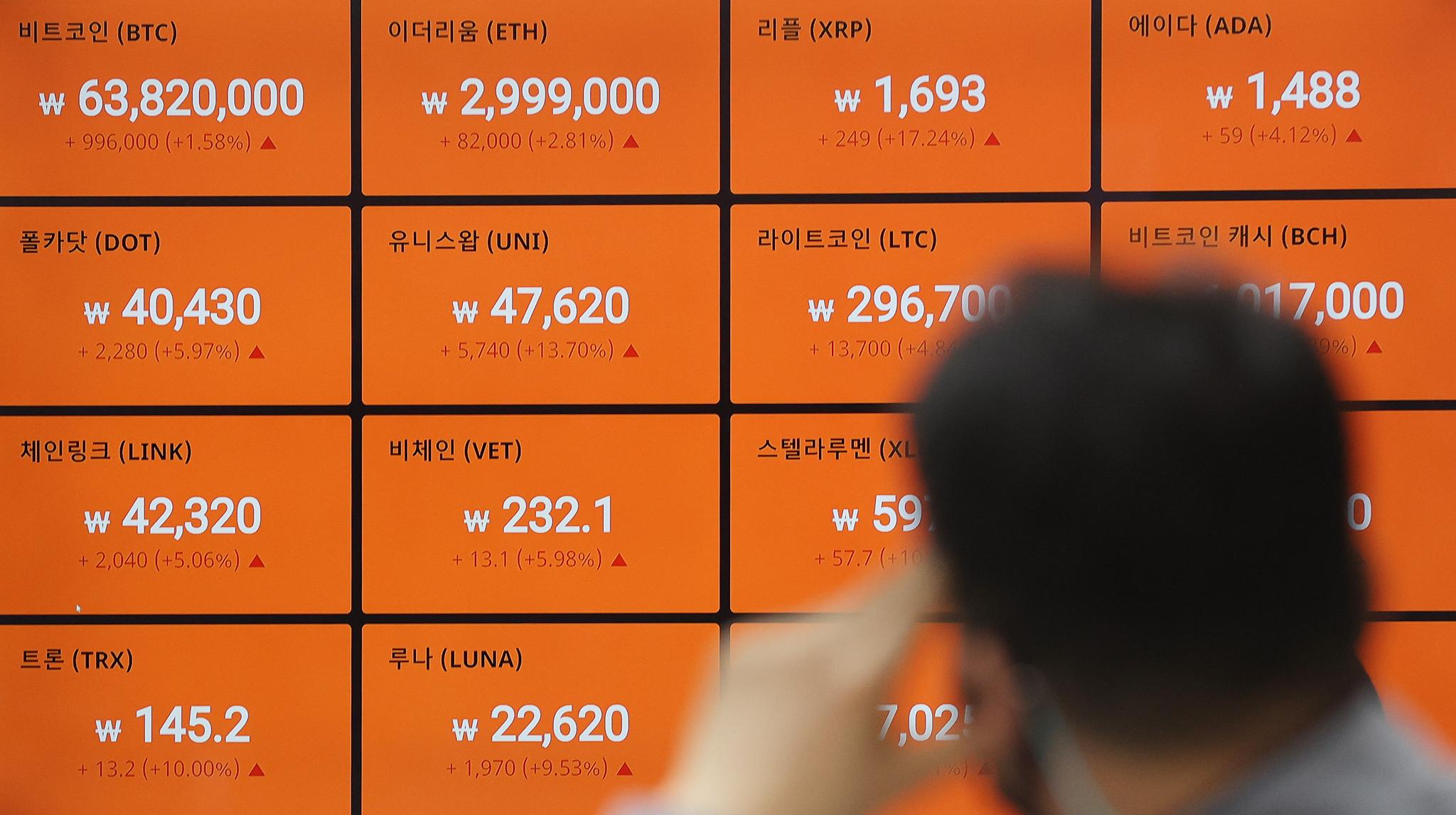 서울 빗썸 강남센터 시세 전광판 자료사진. 연합뉴스