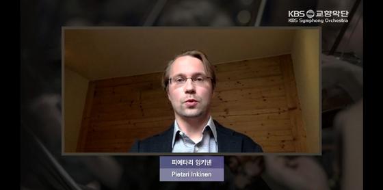 스위스에서 12일 화상 기자간담회에 참여한 KBS교향악단의 새 음악감독 피에타리 잉키넨. [사진 KBS교향악단]