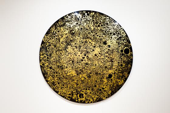 허은경, Scopic Image 3, 2014 , Gold Leaves, Gold leaf 24K, Urush FRP, 200 x 16 cm.[사진 Sigg Collection]