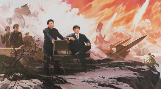 북한 작가 박영철의 '미사일'. 1994—2004 .Oil on canvas 152 x 272cm.[사진 Sigg Collection]