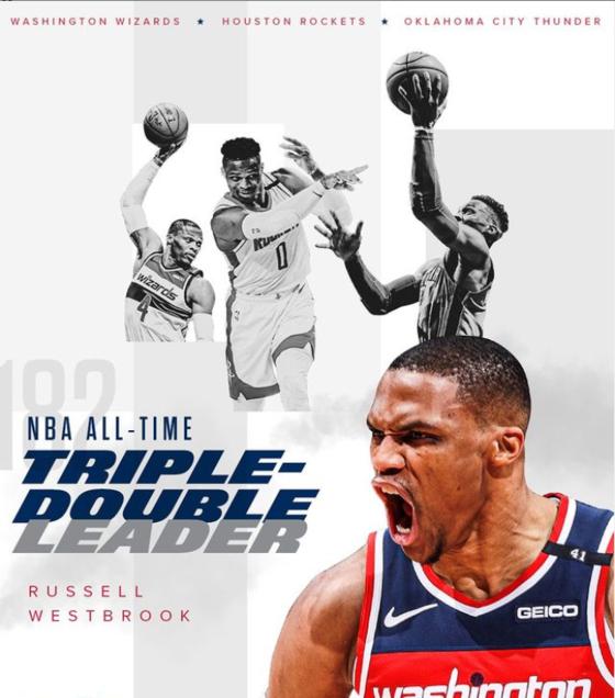 웨스트브룩이 NBA 트리플더블 기록을 새로 썼다. 통산 182번째 트리플더블을 올렸다. [사진 워싱턴 위저즈 인스타그램]