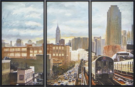 밥 딜런의 그림 ''뉴욕 지하철'(2020). [AP=연합뉴스]