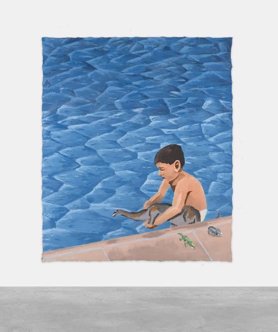 MANUEL SOLNAO, El Chapoteadero,  2020, Acrylic on canvas, 201 x 172 cm. [사진 아트부산]