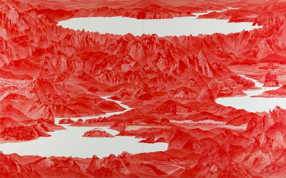 한국작가 이세현의 'Between Red33', 2007 Oil on canvas two parts, each 250 x 200 cm . [사진 Sigg Collection]
