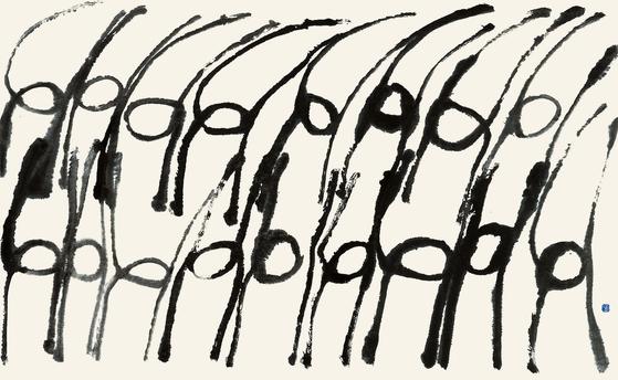 서세옥의 1989년 작품 '춤추는 사람들'. 닥종이에 수묵, 163.5x259㎝. [사진 성북구청]