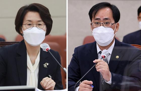 임혜숙 과학기술정보통신부 장관 후보자(왼쪽)와 박준영 해양수산부 장관 후보자. 연합뉴스