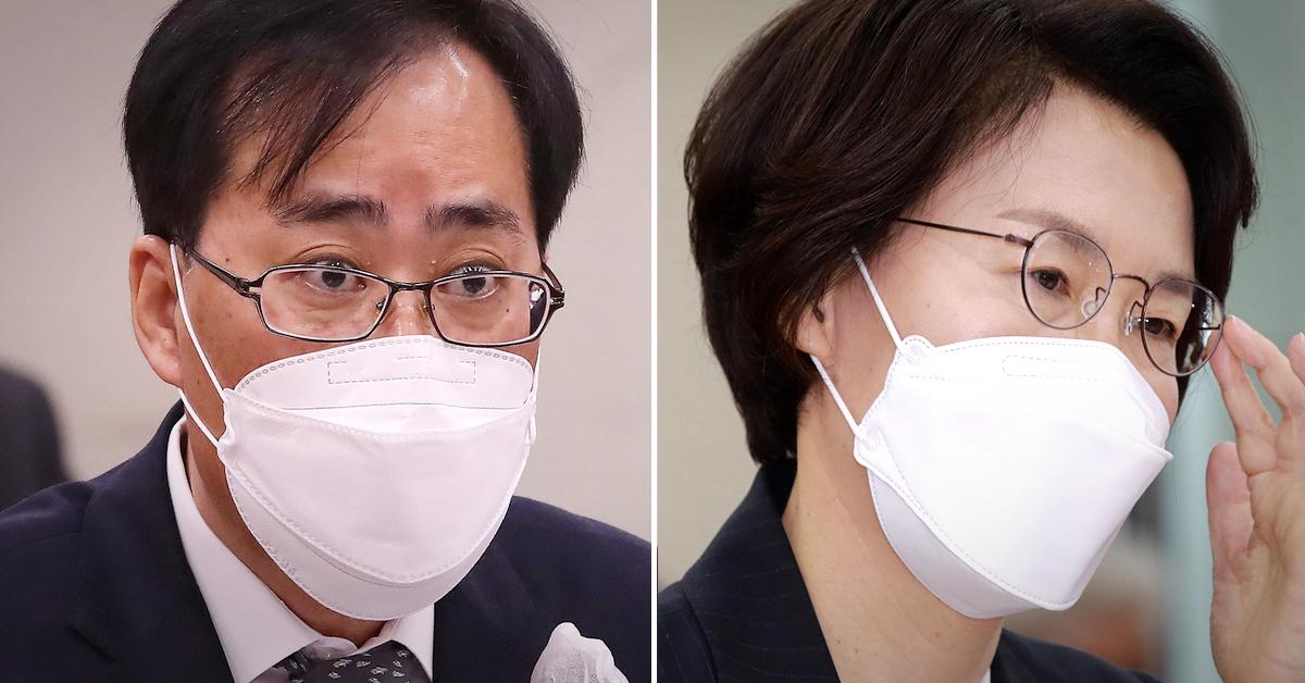 박준영 해양수산부 장관 후보자(왼쪽)와 임혜숙 과학기술정보통신부 장관 후보자. 뉴스1