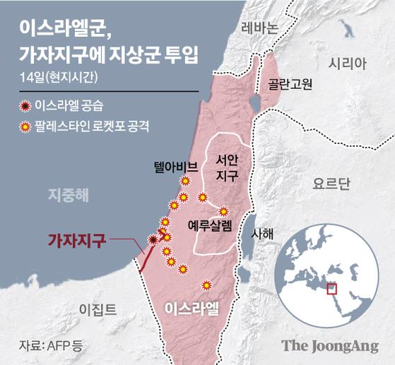 이스라엘군, 가자지구에 지상군 투입. 그래픽=신재민 기자 shin.jaemin@joongang.co.kr