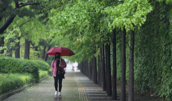10일 경기도 수원시의 한 거리에서 시민들이 우산을 쓰고 출근길 발걸음을 옮기고 있다. 뉴스1