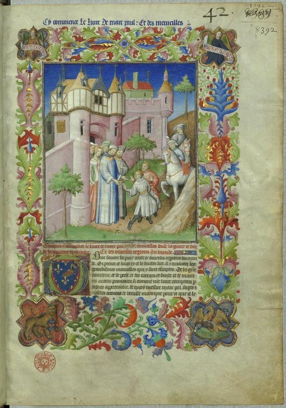 프랑스 국립박물관에 있는 『동방견문록』 표지. 마르코 폴로 일가가 베니스를 떠나는 장면이다.