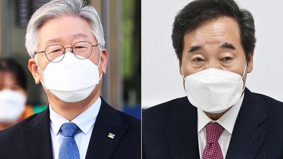 이재명 경기지사(왼쪽)와 이낙연 전 더불어민주당 대표. 연합뉴스