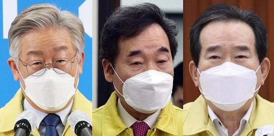 왼쪽부터 이재명 경기지사, 이낙연 더불어민주당 의원, 정세균 전 국무총리. 연합뉴스