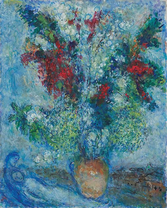 마르크 샤갈, '르 부케(l Le Bouquet), 캔버에 오일, 81x65cm, 1982. [사진 아트부산]