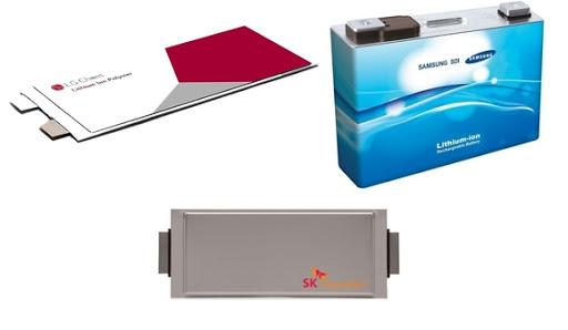 국내 배터리 3사의 리튬이온 배터리. 사진 LG에너지솔루션·삼성SDI·SK이노베이션