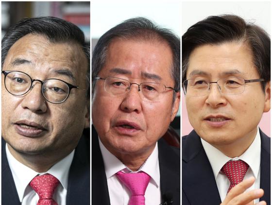 왼쪽부터 이정현 전 새누리당 대표, 홍준표·황교안 전 자유한국당 대표. 중앙포토