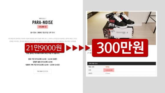 2019년 11월 나이키에서 출시된 '에어포스1 파라-노이즈'는 판매가가 21만 9000원이었 지만 중고 시장에서 300만 원대에 거래되고 있음. 나이키 공식 홈페이지, 온라인 커뮤니티